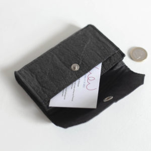Porte-monnaie vegan Piñatex noir Candy