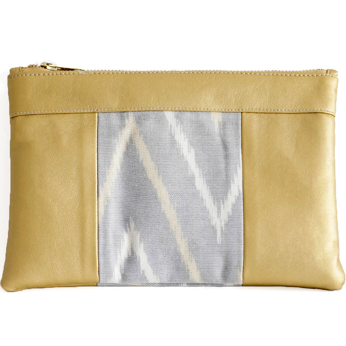 Cassie Clutch Gold & Mountain Gray