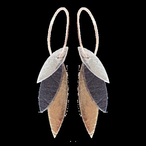 Boucles d'oreilles Créoles Noir Demisel Piñatex Vegan