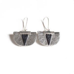 Boucles d'oreilles Pinatex argenté noir made in france
